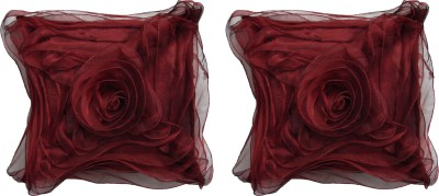 HOME SHINE Floral Cushions Cover(Pack of 2, 40 cm*40 cm, Maroon) at flipkart