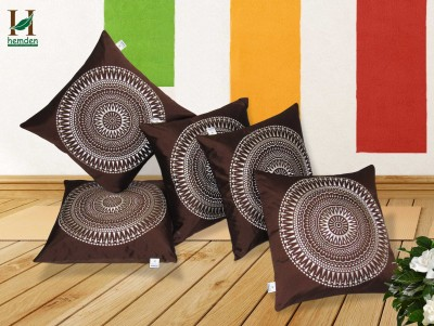 Hemden Embroidered Cushions & Pillows Cover(Pack of 5, 40 cm*40 cm, Brown, White) at flipkart