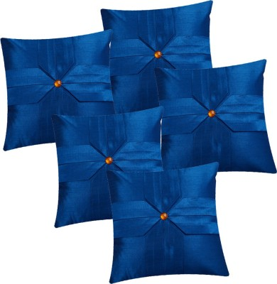 Fazar Creations Striped Cushions & Pillows Cover(Pack of 5, 40 cm*40 cm, Blue)