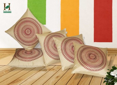 Hemden Embroidered Cushions Cover(Pack of 5, 40 cm*40 cm, Beige, Maroon) at flipkart