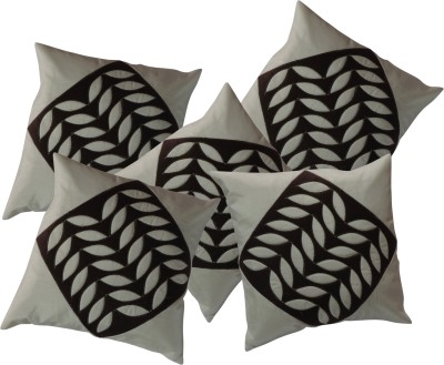 FAB NATION Floral Cushions Cover(Pack of 5, 40 cm*40 cm, White, Brown) at flipkart