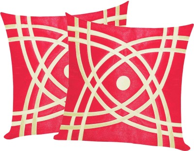 Zikrak Exim Geometric Cushions Cover(Pack of 2, 50 cm*50 cm, Beige, Red) at flipkart