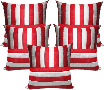Zikrak Exim Striped Cushions Cover(Pack of 5, 40 cm, Silver, Maroon) at flipkart