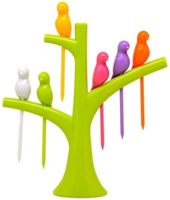 Sayee Birdie Plastic Fruit Fork Set(Pack of 7)