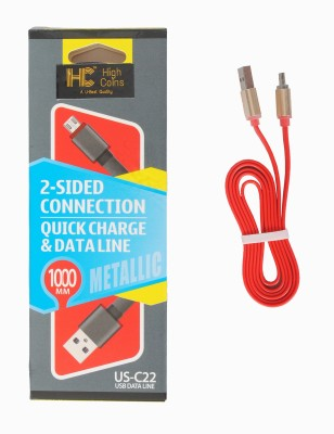 High Coins C22 Reversible Micro USB(Compatible with Mobile, Red) at flipkart