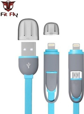 Fit Fly High Speed 2 in 1 1 m Lightning Cable Compatible with Apple iphone 5, 5s, 6, 6s, Smart Phone, Blue, One Cable