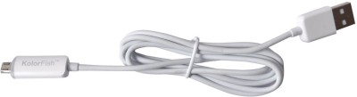 Kolorfish LED Micro USB Cable Charging Data Sync White Micro USB Cable(Compatible with All Smartphones, Tablets and MP3 player, White, Sync and Charge Cable) at flipkart