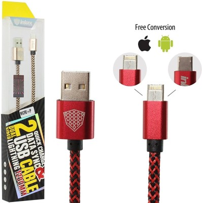 InKax Reversible Micro cum 8 Pin Cable 2 in 1 Joined Cord Both for Android Micro USB and iOS with One Plug Lightning Cable(Compatible with All Smartphones, Tablets and MP3 player, Red, Sync and Charge at flipkart