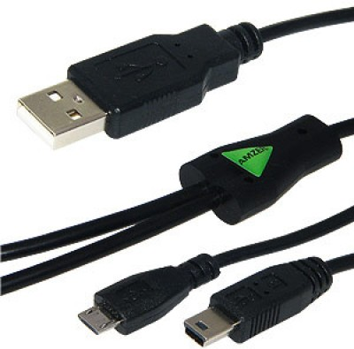 Amzer 85744 USB to Dual Mini USB and Micro USB Y Splitter Charging Handy Cable