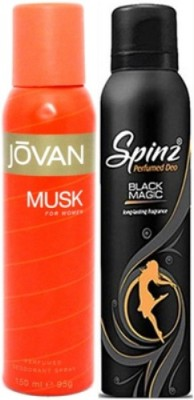 Jovan and Spinz Musk Women and Black Magic Body Spray  -  For Women(300 ml, Pack of 2) Flipkart