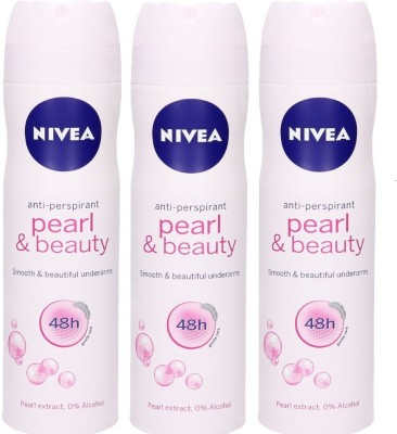Nivea Anti-Perspirant Pearl And Beauty Smooth and Beautiful Underarms 48h ( Pack of 3 ) Deodorant Spray  -  For Men & Women(150 ml, Pack of 3) at flipkart