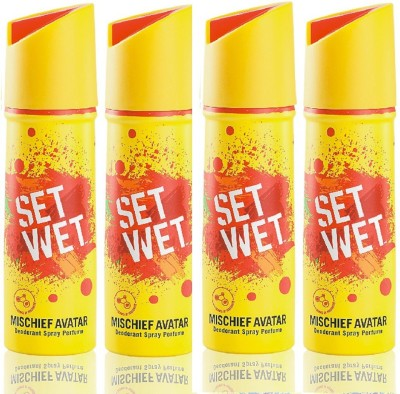 Set Wet mischief avatar Deodorant Spray  -  For Men(150 ml, Pack of 4)