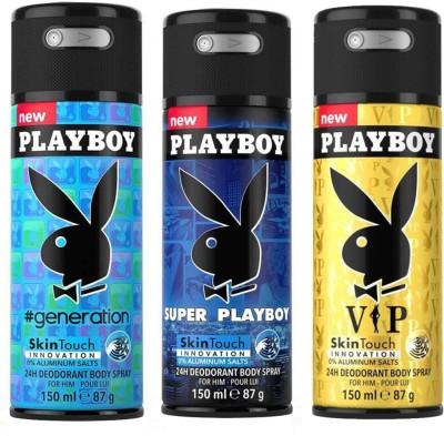 Playboy Geneaeration, Super, Vip Body Spray  -  For Men(450 ml, Pack of 3)