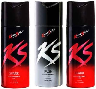 KamaSutra Spark & Rush Deodorant Spray  -  For Men & Women(450 ml, Pack of 3) at flipkart