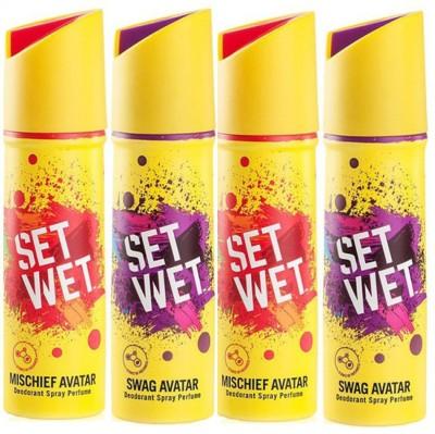 Set Wet Mischief , Swag Deodorant Spray  -  For Men(150 ml, Pack of 4)