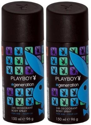 Playboy Pack of 2 Generation Men Deo Deodorant Spray  -  For Men(300 ml, Pack of 2)