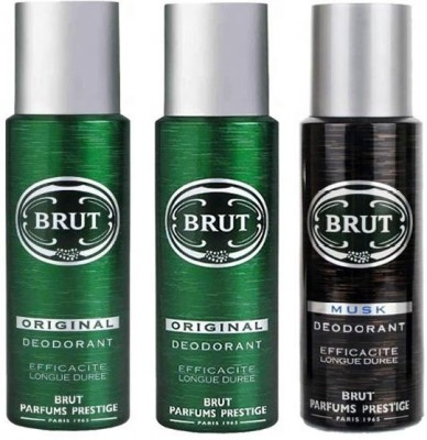Brut 2 Original & 1 Musk Body Spray  -  For Men(200 ml, Pack of 3)