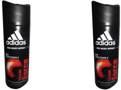 Adidas Team Force Deodorant Spray (Pack Of 2) Body Mist  -  For Men(300 ml, Pack of 2)  available at flipkart for Rs.350