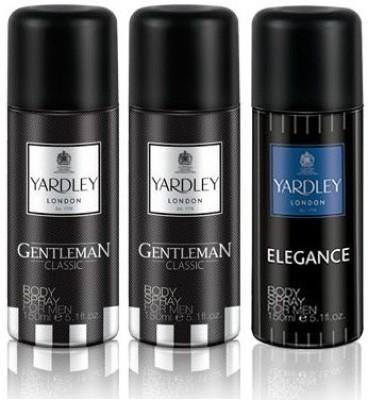 Yardley London Gentleman & Elegance Body Spray  -  For Men(450 ml, Pack of 3)