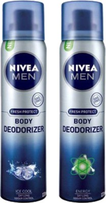 Nivea Men Ice Cool and Energy Body Spray  -  For Men(240 ml, Pack of 2)