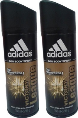 Adidas Victory League Deodorant Spray (Pack of 2) Body Mist  -  For Men(300 ml, Pack of 2)  available at flipkart for Rs.350
