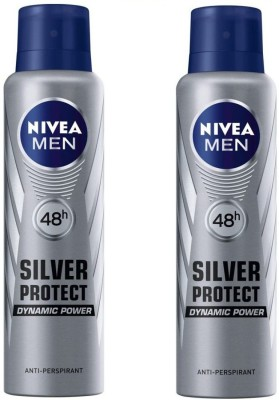 Nivea 48h Silver Protect Dynamic Power Anti-Perspirant Deodorant Spray  -  For Men(150 ml, Pack of 2)