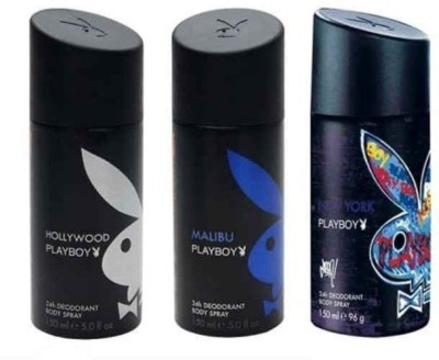 Playboy hollywood new york and malibu Deodorant Spray  -  For Men(450 ml, Pack of 3)  available at flipkart for Rs.548