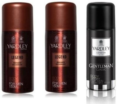 Yardley London Legend & Gentleman Body Spray  -  For Men(450 ml, Pack of 3)