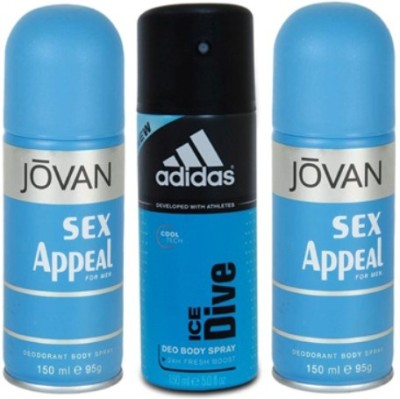 Jovan Sex Appeal and Ice Dive Body Spray  -  For Men(450 ml, Pack of 3)