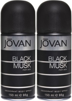 Jovan Black Musk Deodorant Spray (Pack of 2) Body Mist  -  For Men(300 ml, Pack of 2)  available at flipkart for Rs.378