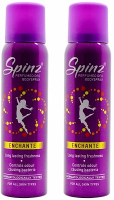 Spinz Enchante Deodorant Spray (Pack of 2) Body Mist  -  For Women(300 ml, Pack of 2)  available at flipkart for Rs.321