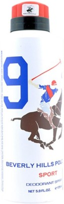 Beverly Hills Polo Club Sport Deodorant No 9 For Mens Body Spray  -  For Men(175 ml)  available at flipkart for Rs.199