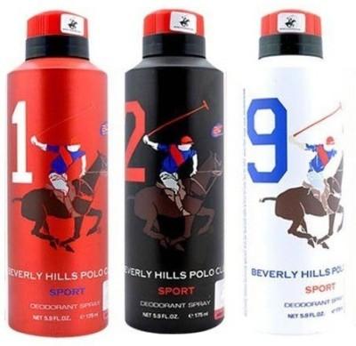 Beverly Hills Polo Club Sport Deo 1, 2, 9 Deodorant Spray  -  For Men(525 ml, Pack of 3) at flipkart