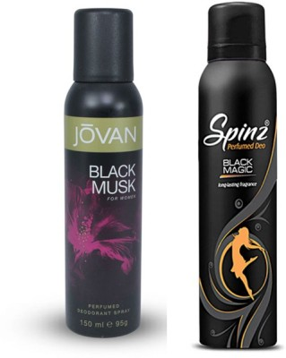 Jovan Black Musk And Magic Body Spray  -  For Women(300 ml, Pack of 2) Flipkart