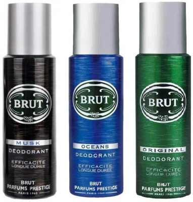 Brut Musk Ocean & Original Body Spray  -  For Men(600 ml, Pack of 3)