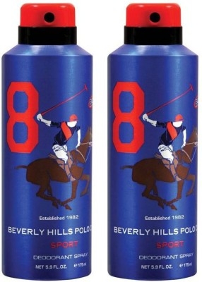 Beverly Hills Polo Club Combo Deodorants No.8X8 Body Spray  -  For Men(350 ml, Pack of 2)  available at flipkart for Rs.380