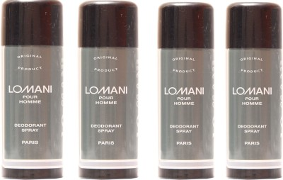 Lomani Lomani Pour Homme Deodorant Spray  -  For Men & Women(800 ml, Pack of 4)