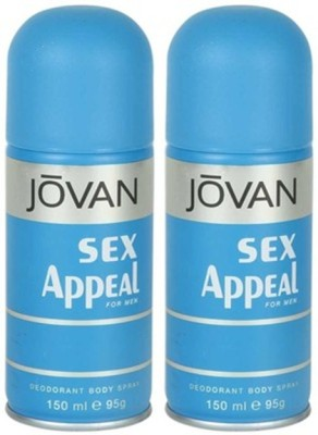 Jovan Sex Appeal Deodorant Spray 150ml Body Mist  -  For Men(300 ml, Pack of 2)  available at flipkart for Rs.355