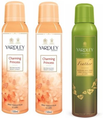 Yardley London Princess & Feather Body Spray  -  For Women(450 ml, Pack of 3)