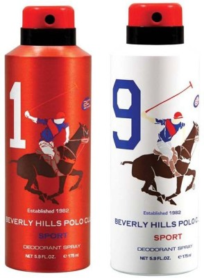 Beverly Hills Polo Club Combo Deodorants No 1 & 9 Body Spray  -  For Men(350 ml, Pack of 2)  available at flipkart for Rs.390