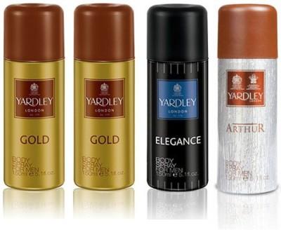 Yardley London Gold & Elegance & Arthur Body Spray  -  For Men(600 ml, Pack of 4)