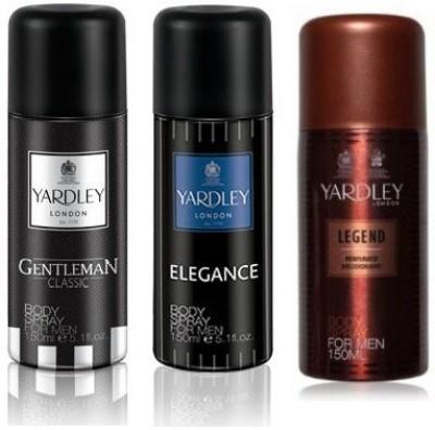Yardley London Gentleman & Elegance & Legend Body Spray  -  For Men(450 ml, Pack of 3)