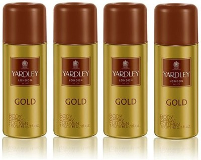 Yardley London Gold Body Spray  -  For Men(600 ml, Pack of 4)