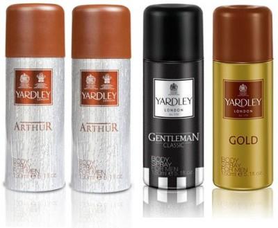Yardley London Arthur & Geneleman & Gold Body Spray  -  For Men(600 ml, Pack of 4)