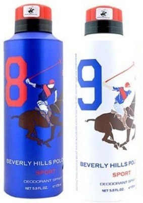 Beverly Hills Polo Club Sport Deo no. 8 and 9 Deodorant Spray  -  For Men(350 ml, Pack of 2) at flipkart