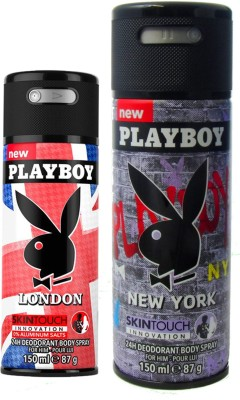 Playboy london and new york Deodorant Spray  -  For Men(300 ml, Pack of 2)  available at flipkart for Rs.390