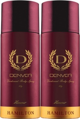 Denver Hamilton Honour Deodorant Spray Pack of 2 Body Mist  -  For Men(300 ml, Pack of 2)  available at flipkart for Rs.372