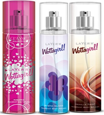 Layer'r Layer'r Wottagirl Romance, Mystic Island, Vanilla Twist Body Spray(Set of3) 135 ml Each Body Spray  -  For Women(135 ml, Pack of 3)  available at flipkart for Rs.569