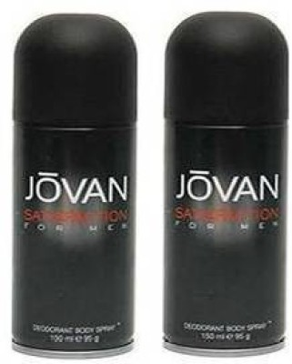 Jovan Satisfaction Deodorant Spray (Pack Of 2) Body Mist  -  For Men(300 ml, Pack of 2)  available at flipkart for Rs.314