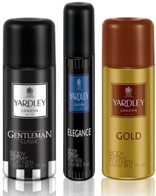 Yardley London Gentleman 150ml Gold 150ml and Elegance 75 ml Deodorant Body Spray  -  For Men(375 ml, Pack of 3)  available at flipkart for Rs.544